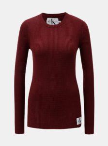 Vínový dámsky sveter s nášivkou a prímesou vlny Calvin Klein Jeans