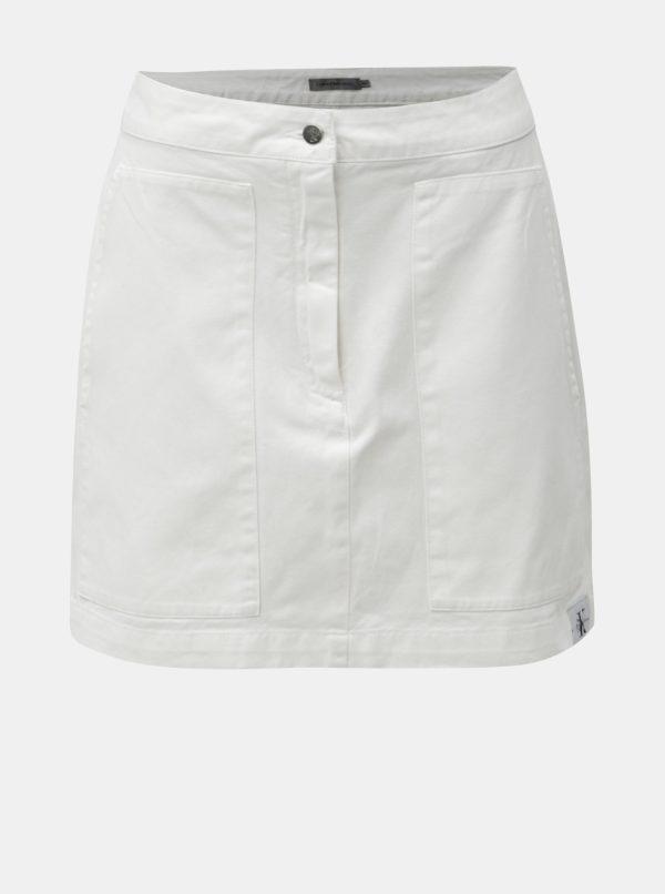 Biela rifľová minisukňa s nášivkou Calvin Klein Jeans