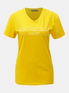 Žlté dámske tričko s potlačou Calvin Klein Jeans