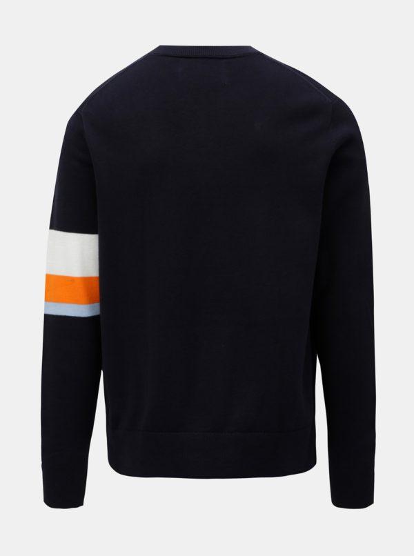 Tmavomodrý pánsky sveter s pruhmi Calvin Klein Jeans