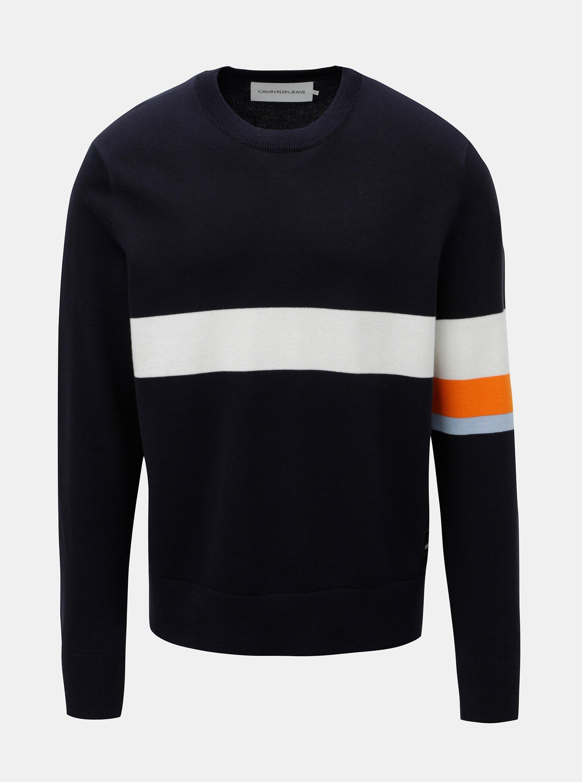 6e2ad0aa79 Tmavomodrý pánsky sveter s pruhmi Calvin Klein Jeans