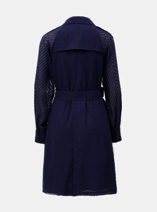 Tmavomodrý tenký kabát s priesvitnými rukávmi ELVI
