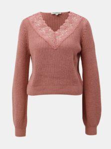 Ružový krátky sveter s čipkou Miss Selfridge