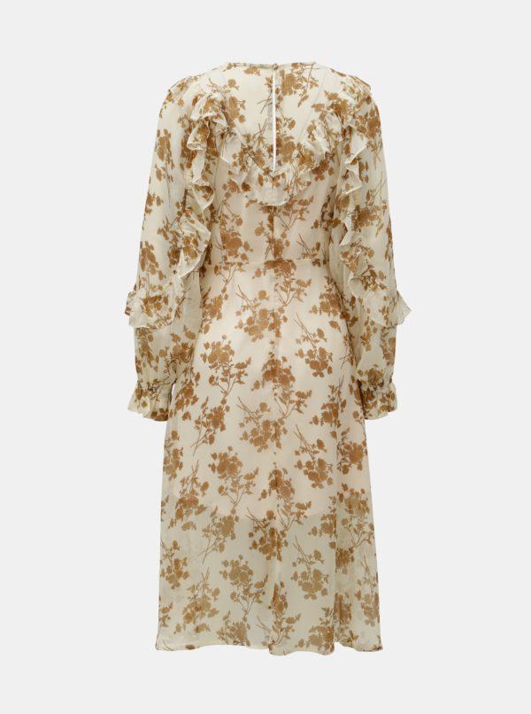 Béžové kvetované šaty so spodničkou 2v1 ELVI