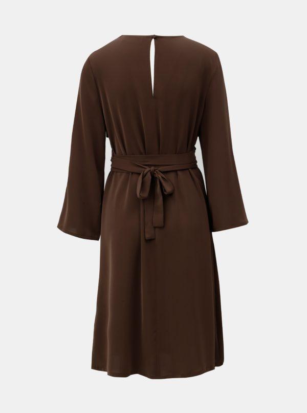 Hnedé šaty s 3/4 zvonovým rukávom ELVI