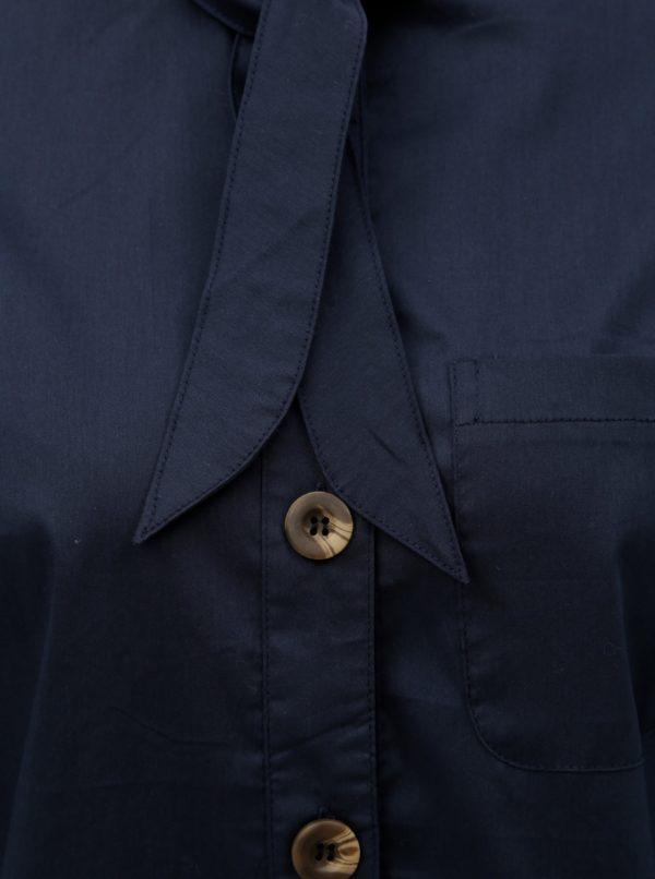 Tmavomodrá košeľa s viazaním pri krku ELVI