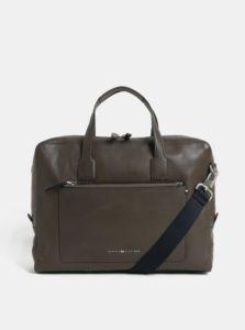 Hnedá kožená taška na notebook Tommy Hilfiger