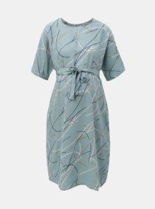 Svetlomodré vzorované tehotenské šaty so zaväzovaním Mama.licious Aslan