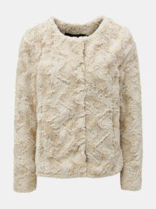 Béžový krátky kabát z umelej kožušiny VERO MODA Curl