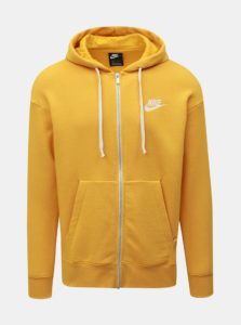 Žltá pánska mikina na zips s výšivkou Nike Heritage