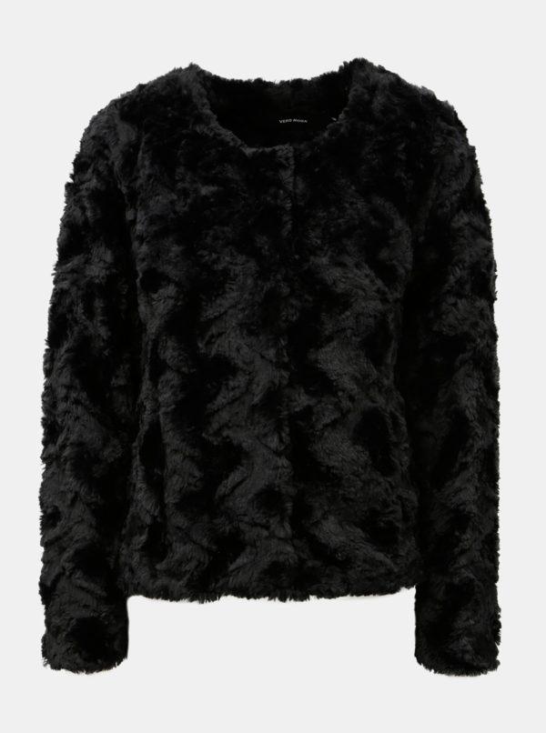Čierny krátky kabát z umelej kožušiny VERO MODA Curl