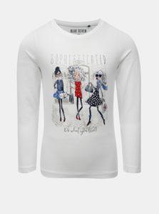 Biele dievčenské tričko s potlačou Blue Seven