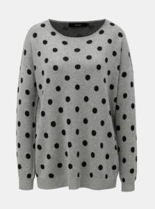 Sivý bodkovaný voľný sveter VERO MODA Dotty