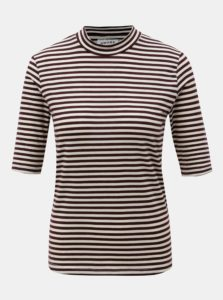 Béžovo-vínové pruhované tričko so stojačikom VERO MODA Ecie