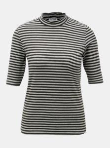 fb65fd86d640 Zeleno–sivé pruhované tričko so stojáčikom VERO MODA Ecie