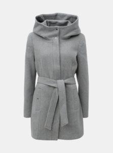 Sivý zimný melírovaný kabát s prímesou vlny VERO MODA Liva
