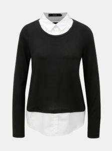 Čierny sveter so všitou košeľovou vsadkou VERO MODA Jolene