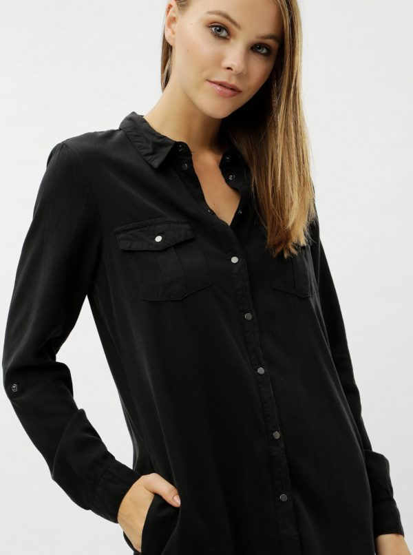 9a8ddf55e Čierne košeľové šaty s vreckami VERO MODA Silla | Moda.sk