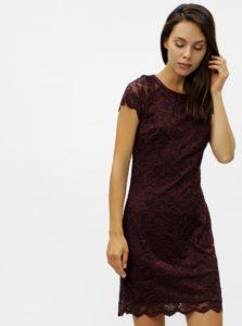 Vínové čipkované šaty s krátkym rukávom VERO MODA Milli
