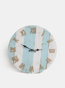 Bielo-modré nástenné pruhované hodiny Kaemingk