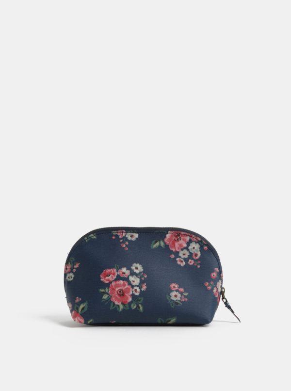 Tmavomodrá kvetovaná kozmetická taška na zips Cath Kidston