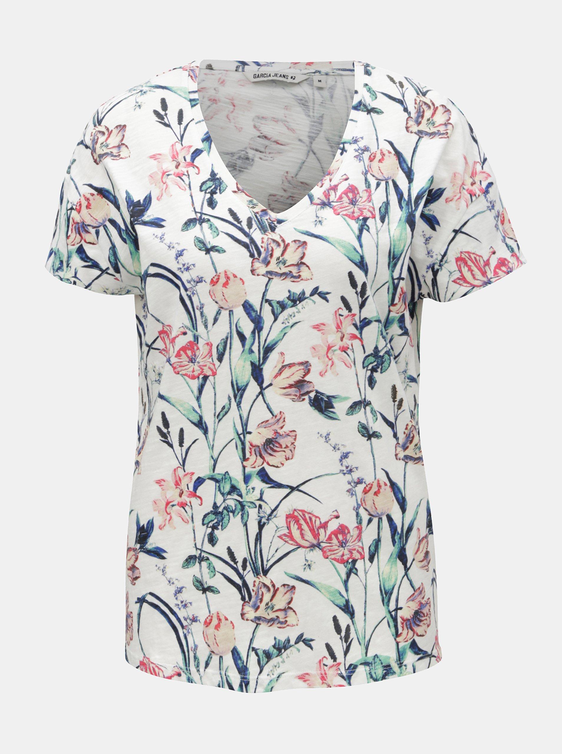 9ec09ae2268b Biele dámske kvetované tričko Garcia Jeans