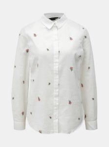 Biela košeľa s prímesou ľanu Dorothy Perkins
