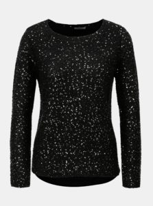 Čierny sveter s flitrami a prekladanou zadnou časťou VERO MODA