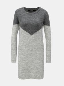 Sivé melírované svetrové šaty s prímesou vlny VERO MODA