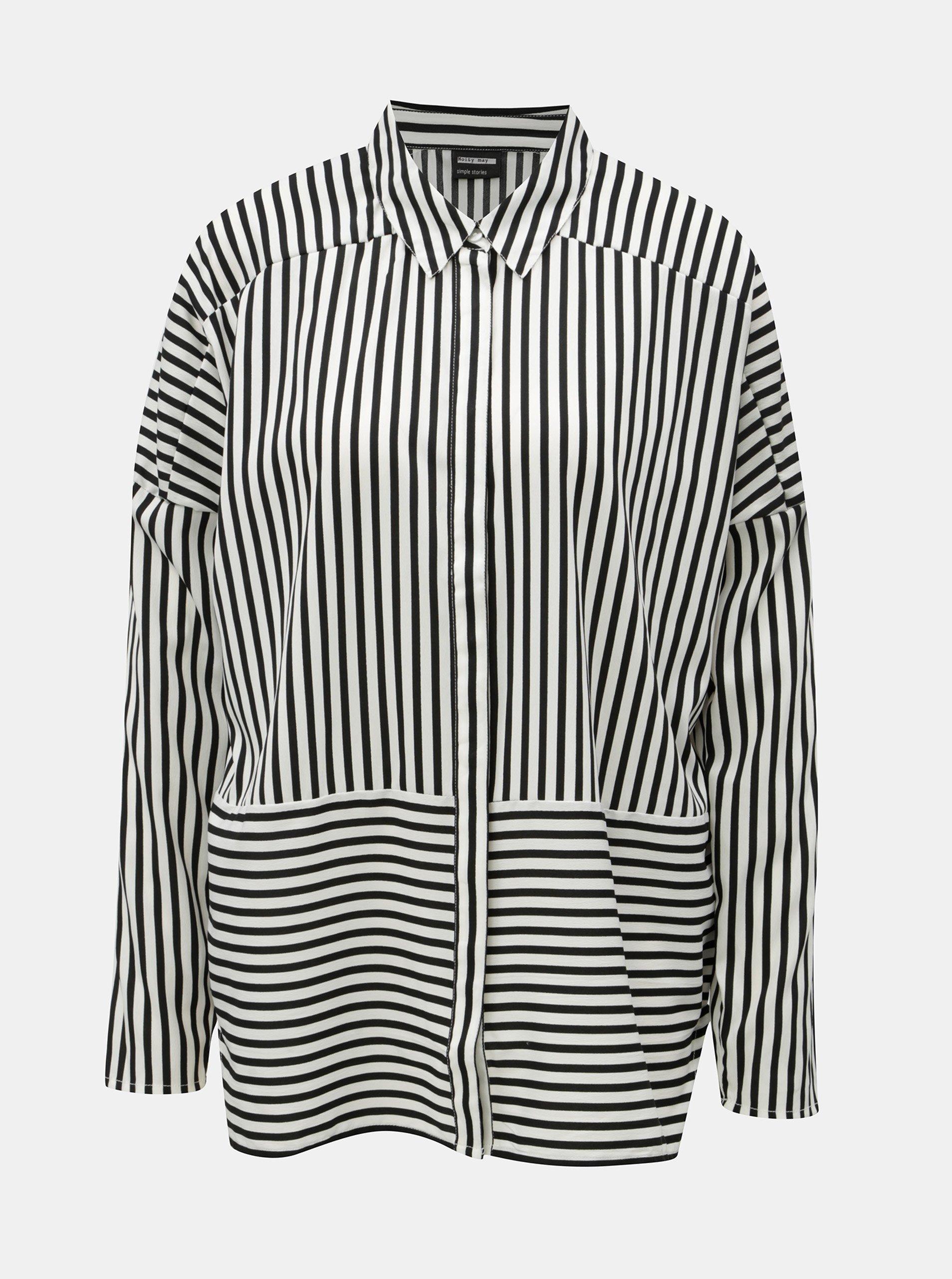 0d62fff5ceb9 Čierno–biela tenká pruhovaná oversize košeľa Noisy May