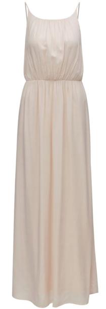 Ukážka elegantných maxi šiat krémovej farby