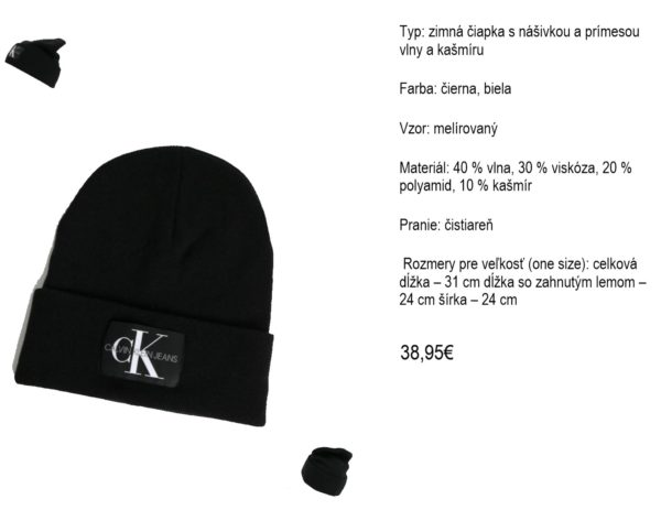 Čierna čiapka s prímesou vlny a kašmíru Calvin Klein Jeans