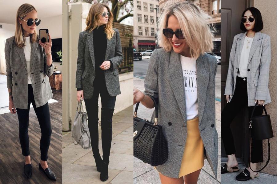 Názorná ukážka kominácii outfitov so sivým sakom