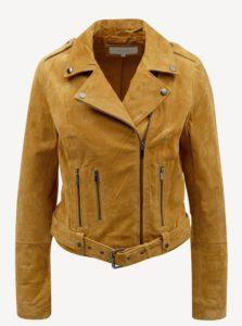 kožená hnedá prírodná bunda