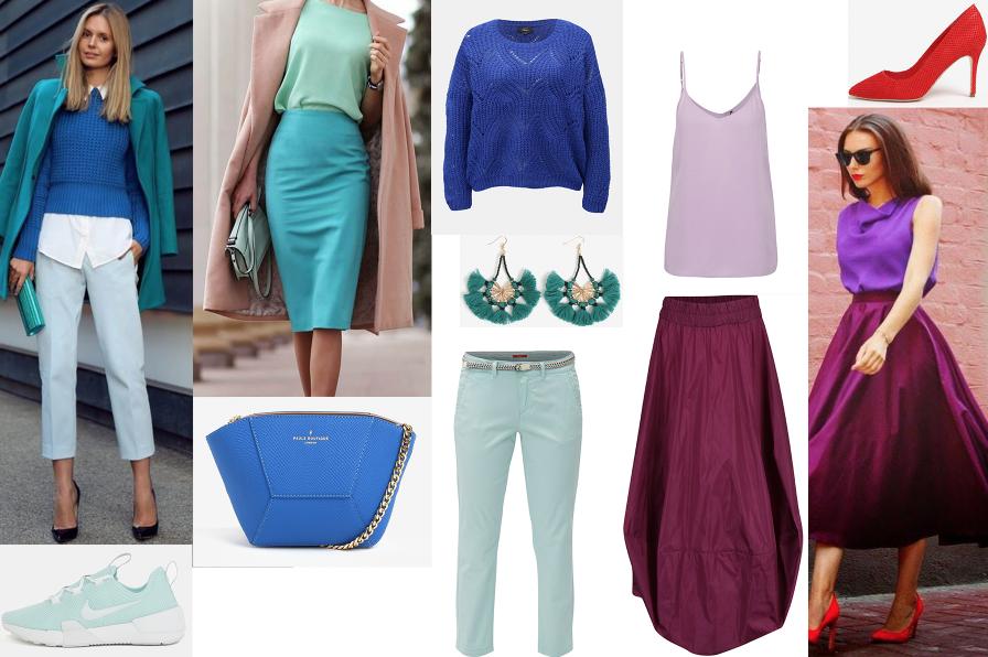 názorná ukážka outfitov v tlmených farbách colorblockingu