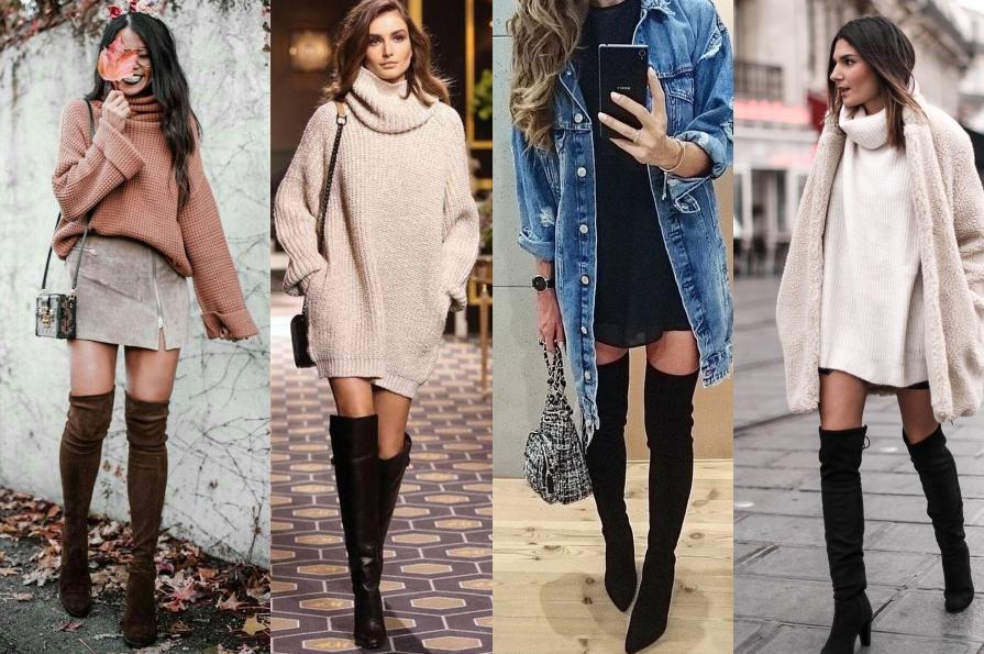 Ukážka rôznych outfitov s čižmami nad kolená