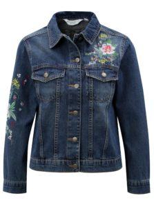 Tmavomodrá rifľová bunda s kvetovanou výšivkou