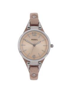 56f54b710 Dámske hodinky v striebornej farbe s béžovým koženým remienkom Fossil  Georgia