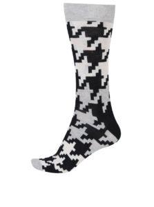 Krémovo-čierne pánske vzorované ponožky Happy Socks Dogtooth