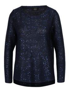 Tmavomodrý pletený sveter s flitrami ONLY Adele