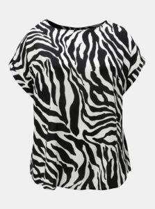 Bielo-čierne vzorované tričko so zipsom na chrbte Dorothy Perkins Curve
