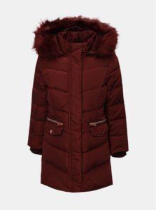 Vínový dievčenský zimný kabát s umelým kožúškom Name it Mela