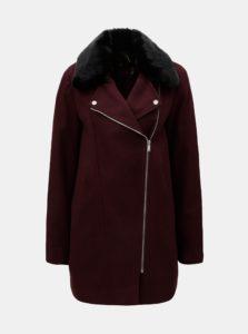 Vínový kabát s kožúškom Dorothy Perkins