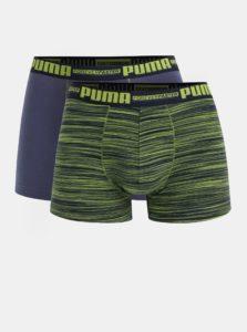 Súprava dvoch boxeriek v zeleno-modrej farbe Puma