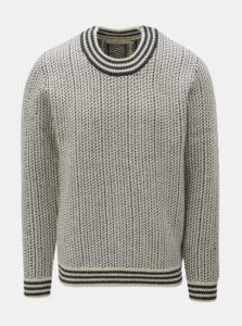 Sivo-krémový vlnený vzorovaný sveter SUIT Nordic