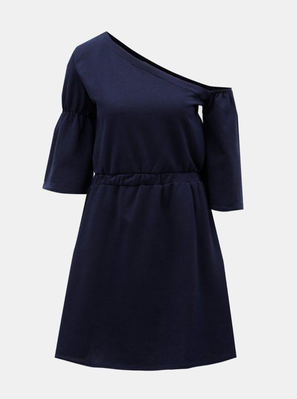 Tmavomodré šaty s asymetrickým výstrihom ELVI
