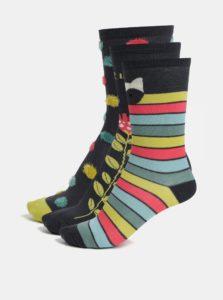Súprava troch párov dievčenských ponožiek v tmavosivej farbe BÓBOLI