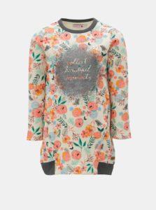 Ružovo-béžové kvetované mikinové šaty BÓBOLI