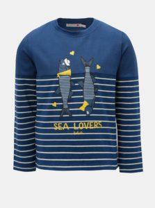 Tmavomodré dievčenské pruhované tričko s potlačou rýb BÓBOLI
