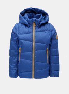 Modrá detská funkčná páperová vesta/bunda s odnímateľnými rukávmi a kapucňou na patentky Reima Martii